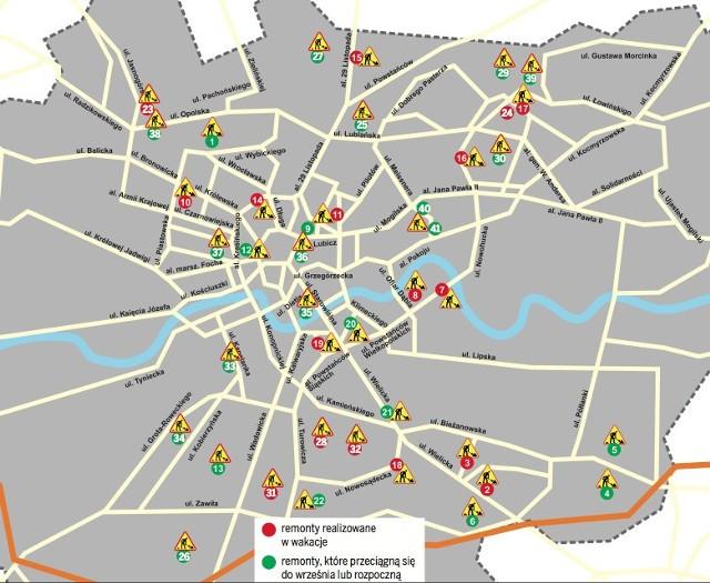 Remonty Krakow Wakacyjne Remonty Potrwaja Do Jesieni Mapa