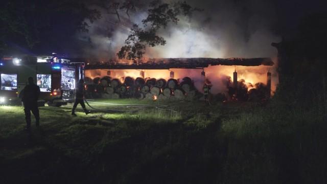 Pożar w Sierakowie. Strażacy walczyli z ogniem na terenie Stada Ogierów. To była wyjątkowo niespokojna noc. Co stało się w Sierakowie?  Zobacz więcej: Pożar w Sierakowie: Na terenie Stada Ogierów spaliło się 300 balotów [FILM, ZDJĘCIA]
