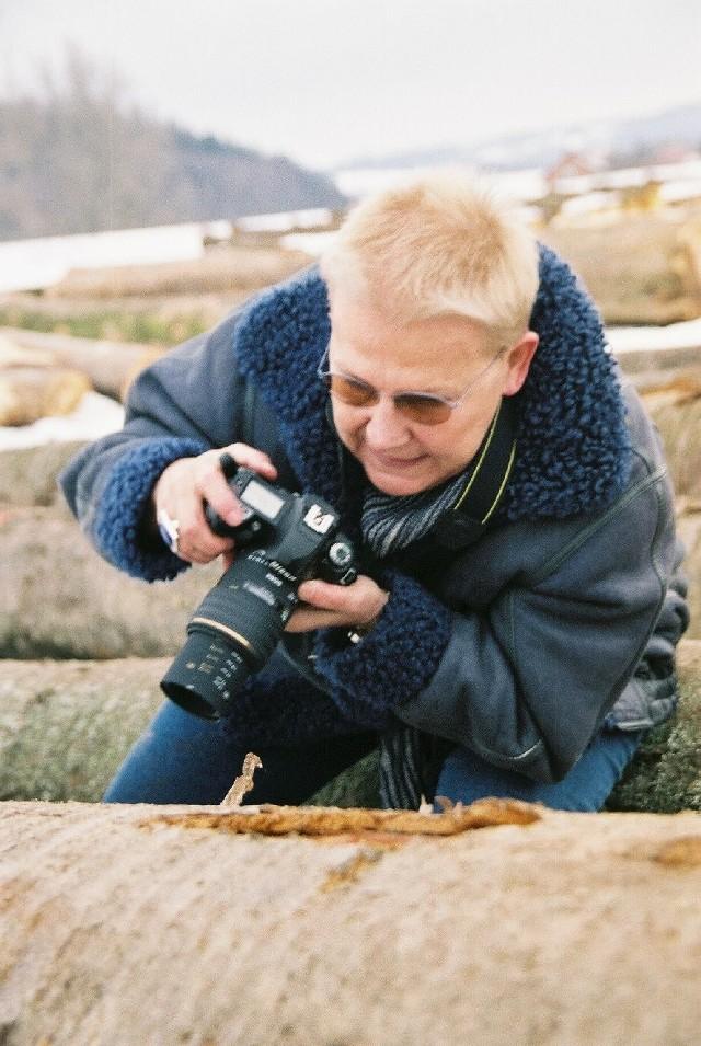 Elżbieta Dzikowska podczas fotografowania drewna na składzie w Nadlesnictwoie Brzozów