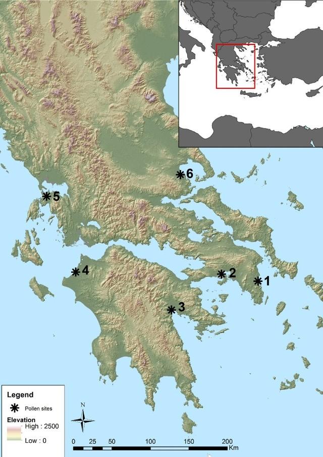 Mapa stanowisk w południowej Grecji, z których pobrano próbki pyłków
