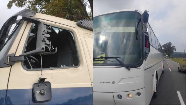 Ciężarówka i autokar otarły się lusterkami na DW 980 w Melsztynie