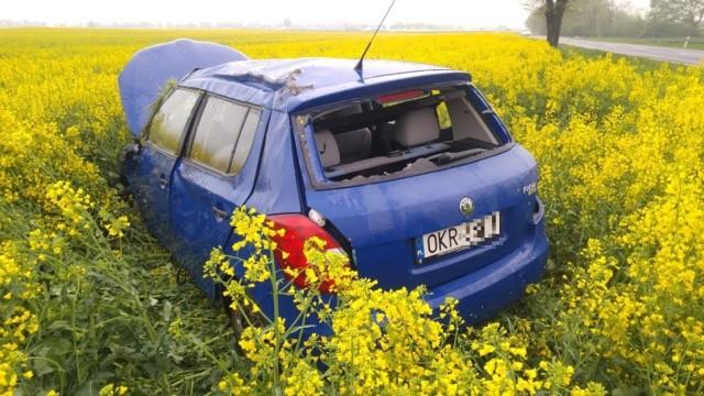 Według pierwszych ustaleń krapkowickich policjantów, kierowca skody nie dostosował prędkości do warunków pogodowych i wypadł z drogi.