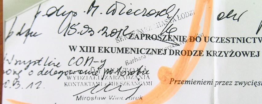 """Na zaproszeniu od organizatorów XIII Ekumenicznej Drogi Krzyżowej dyrektor Mirosław Wieczorek napisał: """"Wszystkie COM-y proszę o delegowanie po 1 osobie"""""""