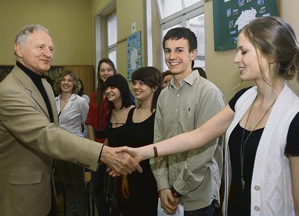 Cyprian Kosiński spotkał się w III LO z 40 najlepszymi uczniami z klas I-III
