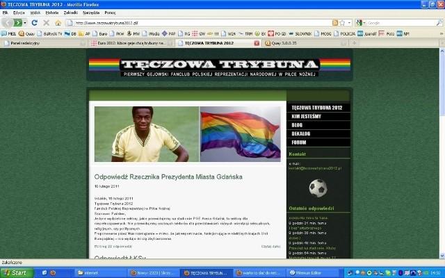 Zrzut strony internetowej Tęczowej Trybuny 2012 z listem Antoniego Pawlaka