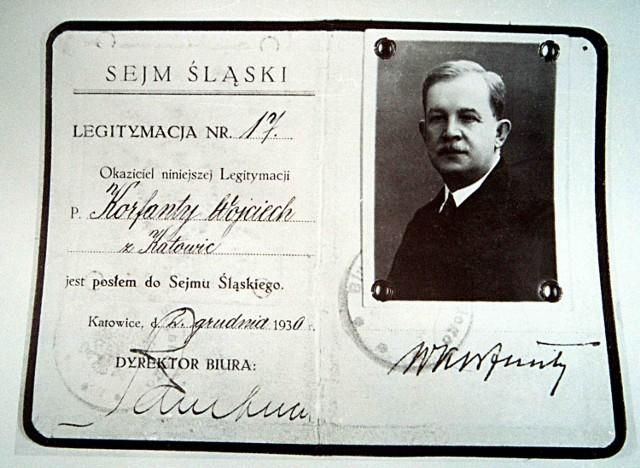 Legitymacja nr 17 Wojciecha Korfantego, posła do Sejmu Śląskiego, wystawiona 2 grudnia 1930 roku