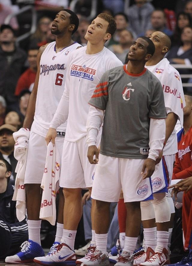 Co to za dyscyplina? Koszykówka. Na zdjęciu: DeAndre Jordan, Blake Griffin i Chris Paul z Los Angeles.