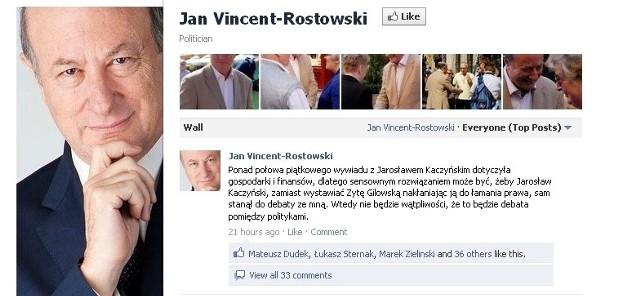 Facebookowy profil Jacka Rostowskiego