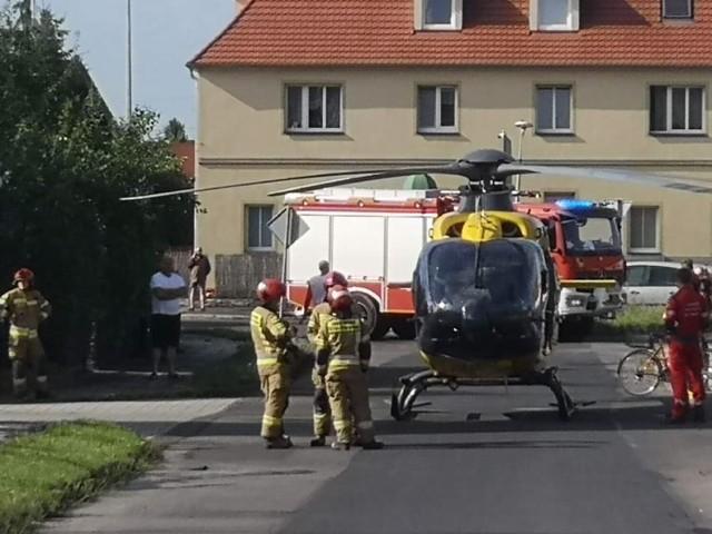 Lądowanie śmigłowca LPR w Brzegu 11 sierpnia.