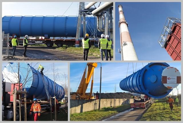 Montaż silosów - instalacja odsiarczania w MPEC we Włocławku