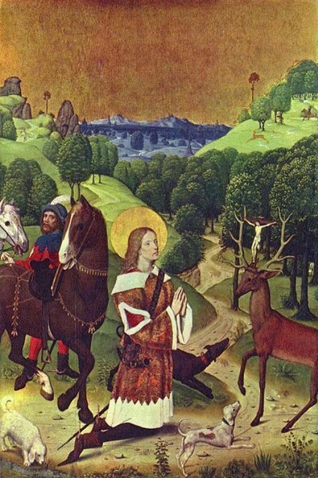 Święty Hubert, obraz Mistrza Żywotów Maryi z Werden.