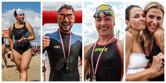 Trzeci, decydujący wyścig pływacki dookoła mola w Sopocie