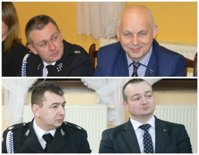 Na górze: Wiesław Skowroński i Jarosław Kubiak na zebraniu w Smolicach, na dole: Andrzej Maćkowiak i Tomasz Lesiński na zebraniu w Zalesiu Małym