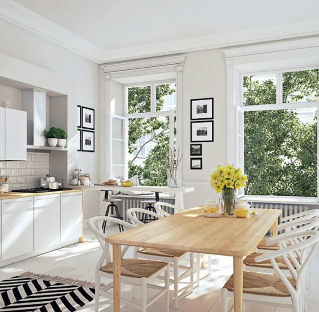 STYL SKANDYNAWSKI – to prostota, funkcjonalność, zamiłowanie do natury i jasnych kolorów. Skandynawskie kuchnie są przestronne i świetliste, często połączone z jadalnią oraz salonem. Dominujące materiały to drewno, kamień, ceramika oraz bawełniane lub lniane tkaniny.