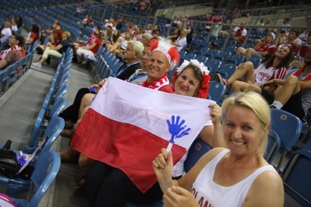 Kibice na trybunach Tauron Areny Kraków podczas meczu Polska - Norwegia w ramach memoriału Wagnera 10.07. 2021
