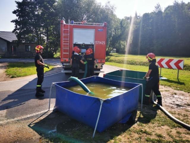 Ćwiczenia straży pożarnej w Zduńskiej Woli z Nadleśnictwem Kolumna