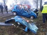 Wypadek w Plastowie. Matiz uderzył w drzewo, kobieta trafiła do szpitala