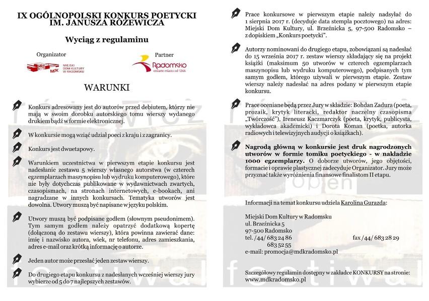 Konkurs Poetycki Im Janusza Różewicza Wiersze Można