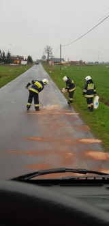 Powiat pleszewski. Pracowity dzień strażaków ochotników na drogach powiatu pleszewskiego