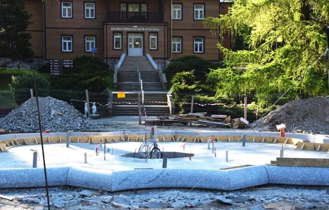 Trwa budowa nowej fontanny w Rymanowie-Zdroju
