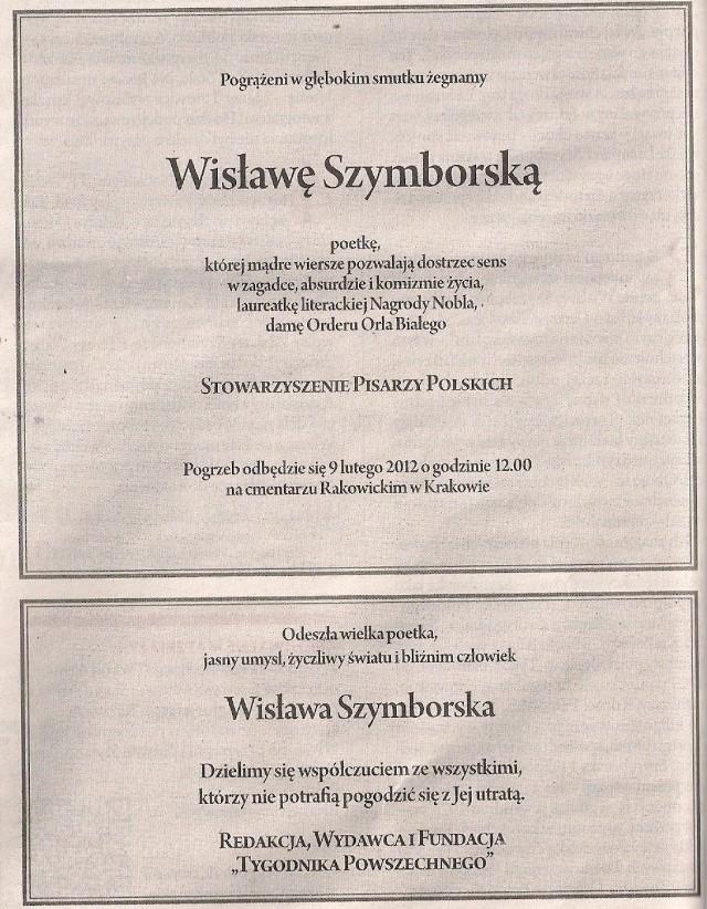 Pożegnanie Wisławy Szymborskiej Nasze Miasto