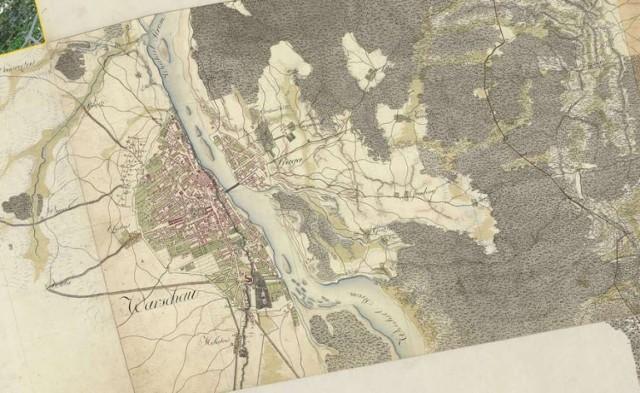 Panorama Warszawy na mapie z XVIII wieku.
