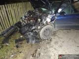 Wypadek w Mejznerzynie: Skoda zderzyła się z ciągnikiem wiozącym drewo (ZDJĘCIA)