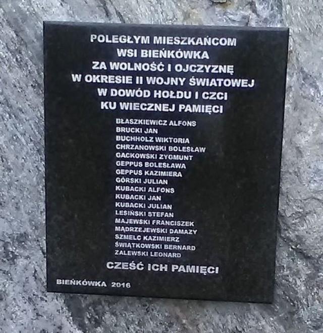 Przy figurce św. Józefa w Bieńkówce ustawiono kamień z płytą upamiętniającą ofiary hitlerowców  z okresu II wojny światowej.