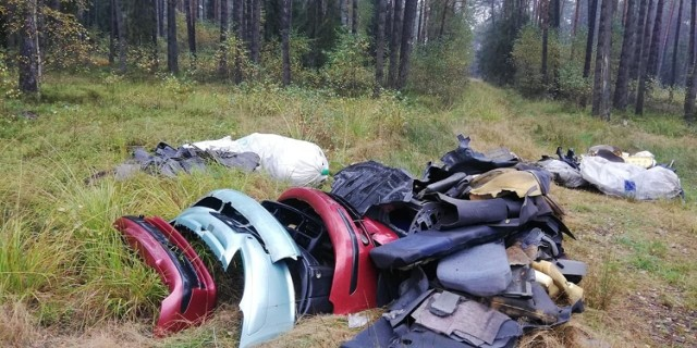 W lublinieckich lasach ktoś porzucił części samochodowe. Tak dużej ilości porzuconych odpadów leśnicy dawno nie widzieli