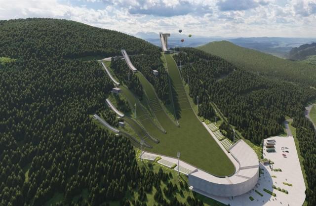 Wizualizacja projektu skoczni mamuciej i centrum sportów w Szczawnicy