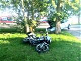 W gm. Darłowo zderzenie motocykla z Volkswagenem. Jedna osoba ranna ZDJĘCIA