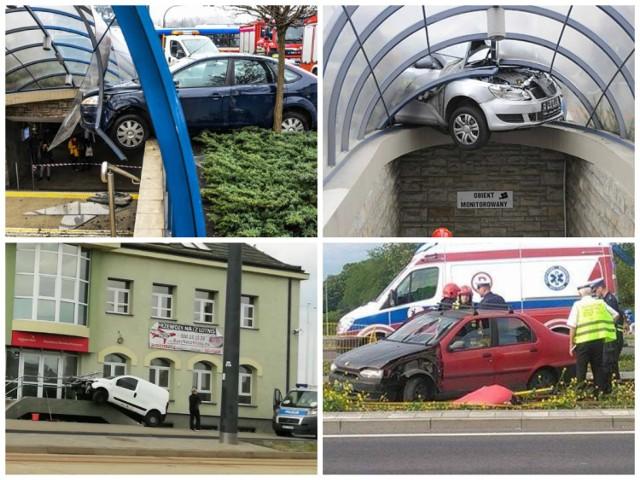 Staranowali wiatę przejścia podziemnego, dachowali na torowisku, ale również zaparkowali na... schodach. Te wypadki naprawdę wydarzyły się w ostatnich latach w Bydgoszczy.