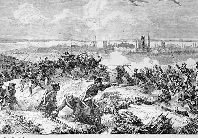Scena walki o Gdańsk w czasie wojen napoleońskich