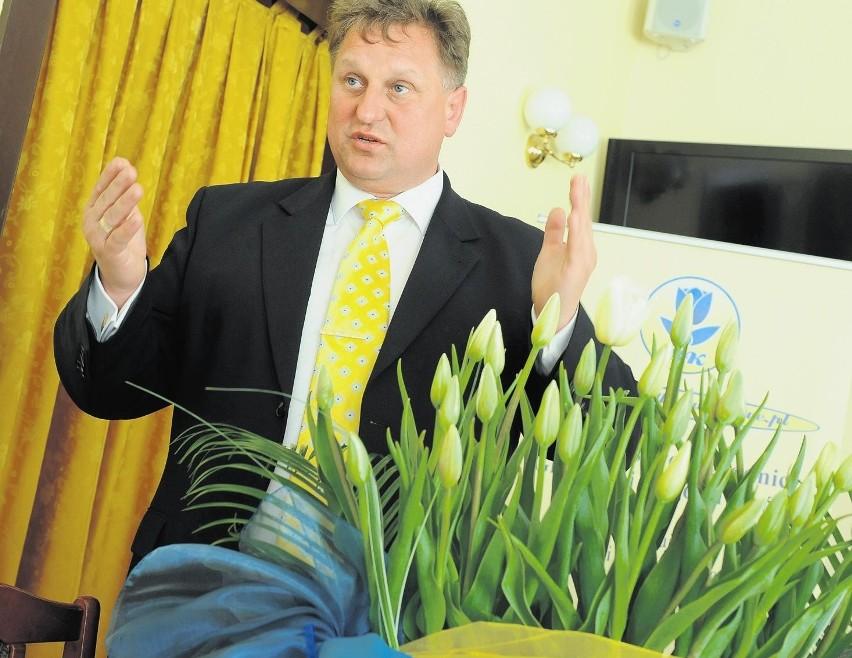 Bogdan Królik prezentuje tulipany odmiany Jan Paweł II