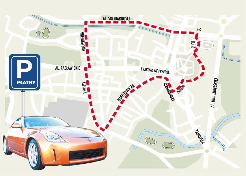 Granice strefy płatnego parkowania w Lublinie wyznaczają al....