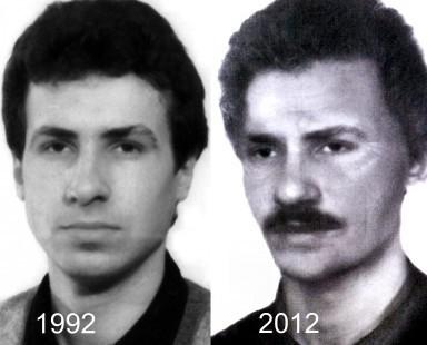 Jarosław Ziętara przed zniknięciem w 1992 roku i jego hipotetyczny  wizerunek po 20 latach