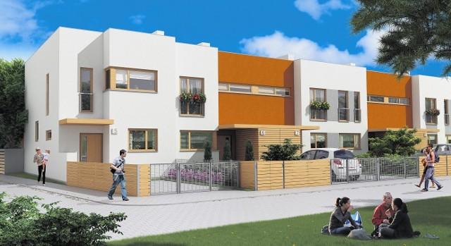 """Dom czteropokojowy w zabudowie szeregowej to nowy typ budynków, jakie pojawią się na osiedlu """"Osada Leśna"""" w podpoznańskiej Dąbrówce."""