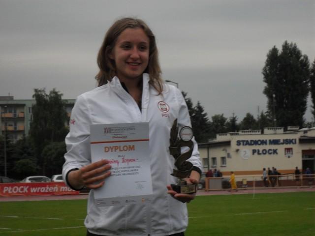 Malwina Kopron (Wisła Puławy) podczas ubiegłorocznych mistrzostw Polski (U-18) w Płocku