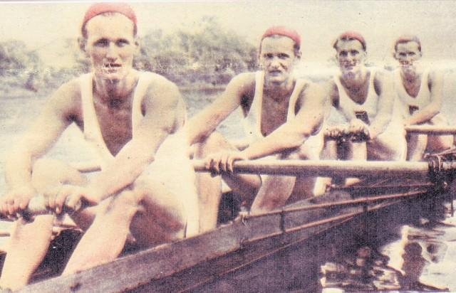 Akademickie MŚ Berlin 1951. Od lewej Z. Schwarzer, E. Schwarzer, H. Jagodziński i Z. Żarnowiecki
