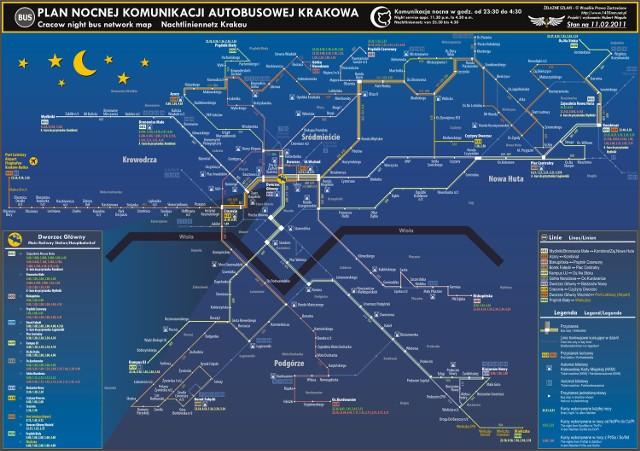 Mpk Krakow Zobacz Mape Komunikacji Nocnej Krakow Nasze Miasto