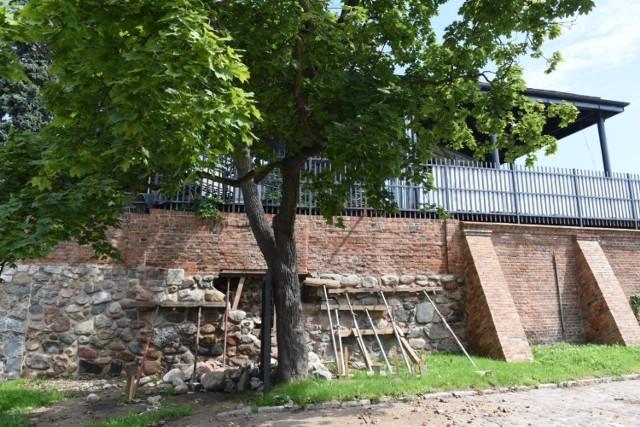 Uszkodzony mur przy Stawie Komtura