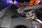 Groźny wypadek na S5 pod Bydgoszczą. Auto dachowało. Strażacy OSP Brzoza w akcji [zdjęcia]