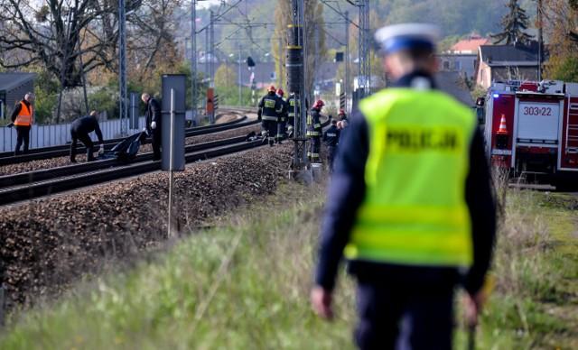 Na gdańskiej Oruni często dochodzi do wypadków na torach kolejowych. Na zdjęciu śmiertelne potrącenie pieszego przez pociąg (maj 2017 r.)
