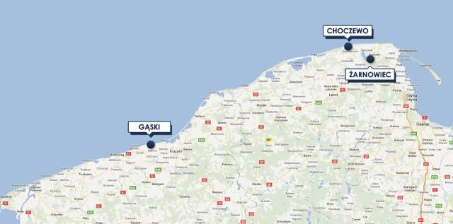 Gąski są położone o 1,5 godziny jazdy autem od Kopania