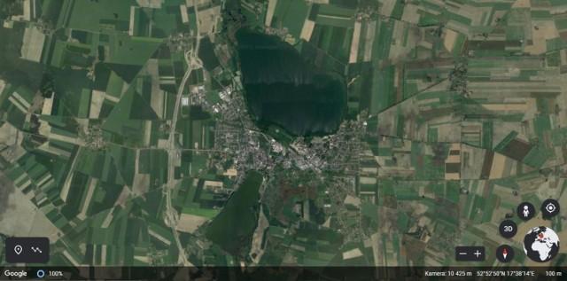 Żnin widziany z satelity.