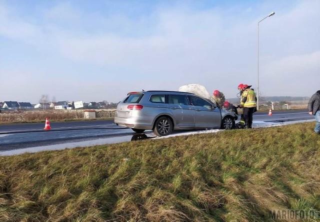 Pożar samochodu w powiecie krapkowicach.