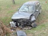 Myszków: Kierowca nissana wjechał w drzewo na ulicy Słowackiego. 57-latek miał ponad dwa promile alkoholu [ZDJĘCIA]