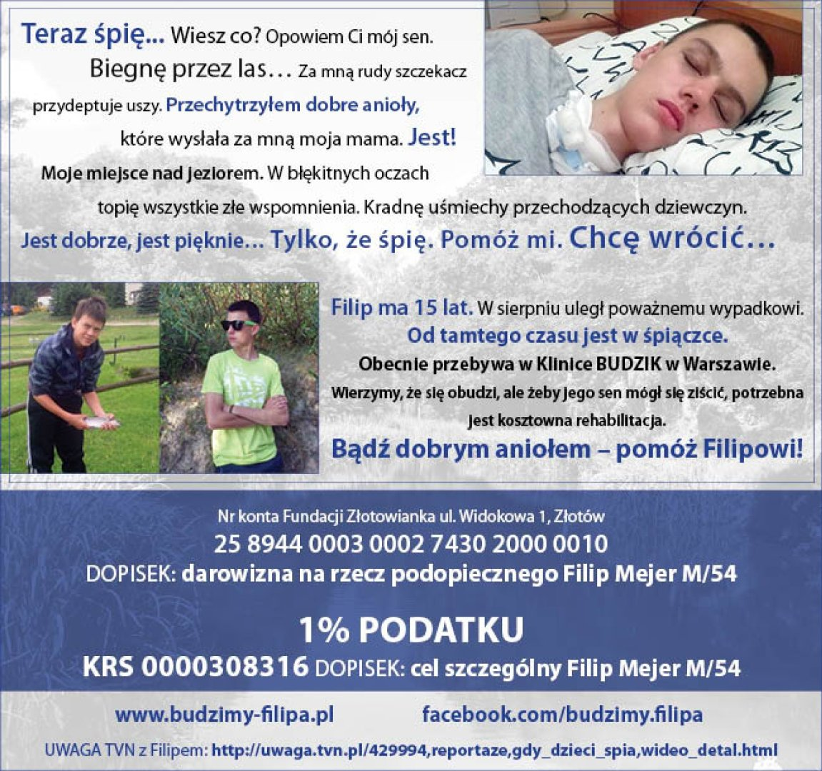 ca58bab84c Szukamy świadków wypadku będącego w śpiączce Filipa Mejera ...