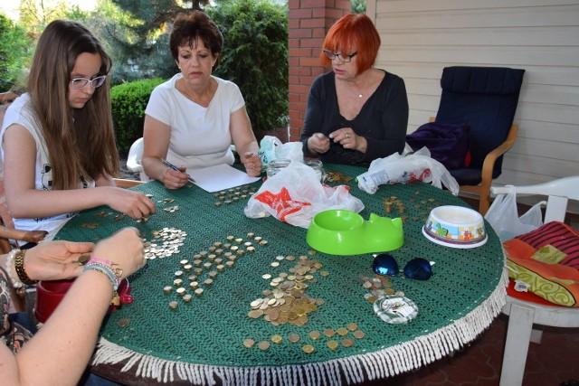 Członkowie ŁSPZ podczas liczenia monet