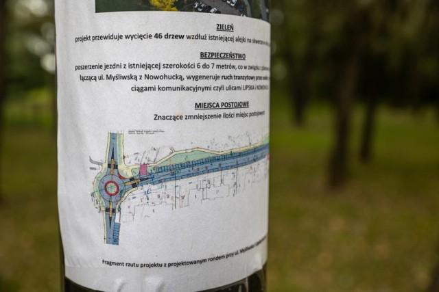Mieszkańcy protestują przeciwko planowanej rozbudowie ul. Lipskiej i jej skrzyżowania z ul. Myśliwską.